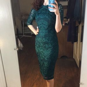 JS Collection 3/4 Sleeve Green Embroidered Dress